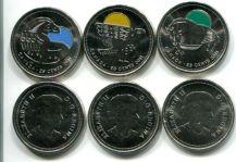 Набор монет Канады 25 центов 2011 год (кит, сокол, бизон) цветные