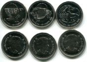 Набор монет Канады 25 центов 2011 год (кит, сокол, бизон)