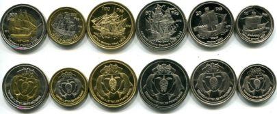Набор монет острова Европы 2012 год (корабли)