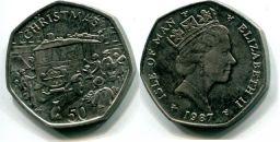 50 пенсов 1987 год (Рождество) Остров Мэн