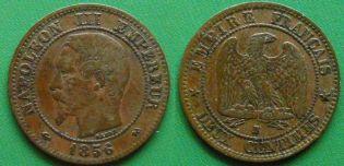 2 сантима 1856 год B, Франция