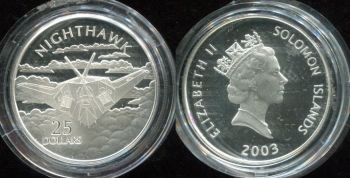 25 долларов 2003 год (Самолёт Nighthawk) Соломоновы острова