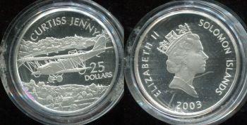 25 долларов 2003 год (Самолёт Curtiss Jenny) Соломоновы острова