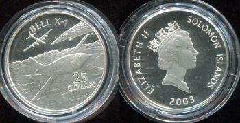 25 долларов 2003 год (Самолёт Bell X-1) Соломоновы острова