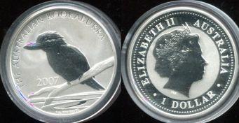 1 доллар 2007 год серебро (кукабурра) Австралия