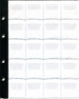 Лист в альбом для монет на 20 ячеек (формат Optima) с усиленной полосой крепления