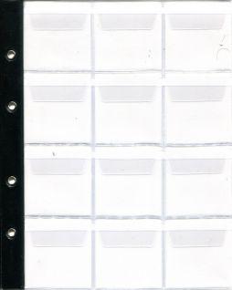 Лист в альбом для монет на 12 ячеек (формат Optima) с усиленной полосой крепления