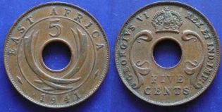 5 центов 1941 год Восточная Африка