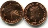 1 цент 1997 год (рыба) Остров Святой Елены