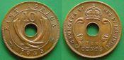 10 цент 1943 год Восточная Африка