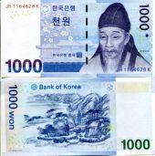 1000 вон 2007 год Южная Корея