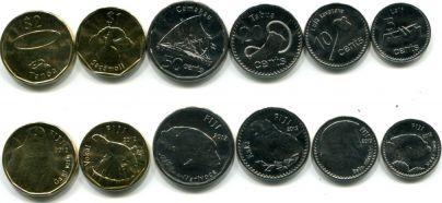 Набор монет Фиджей 2012 год (животные)