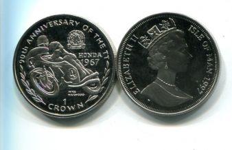 1 крона 1995 год (Хонда, мотоцикл) гонкам ТТ 90 лет Остров Мэн