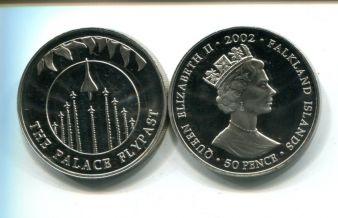 50 пенсов 2002 год (воздушный парад, конкорд) королевский юбилей Фолклендские острова