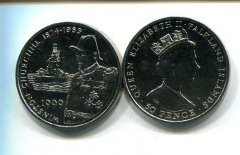 50 пенсов 1999 год (Черчиль) Тристан-да-Кунья Фолклендские острова