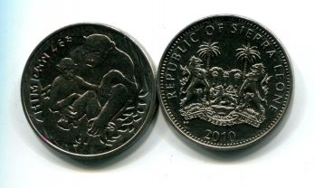 1 доллар 2010 год (шимпанзе) Сьерра-Леоне