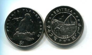 1 доллар 1996 год (сокол) сохранение планеты Эритрея