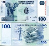 100 франков 2007 год Конго