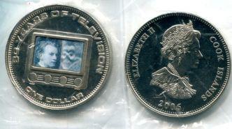1 доллар 2006 год (80 лет телевидению) голограмма Остров Кука