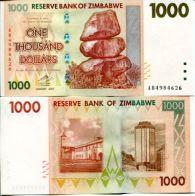 1000 долларов 2007 год Зимбабве