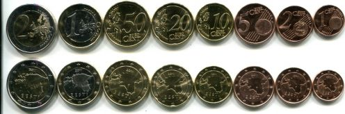Набор монет евро Эстонии 2011 год