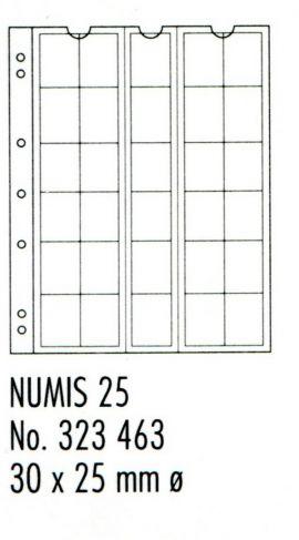 Лист в альбом для монет Numis на 30 ячеек