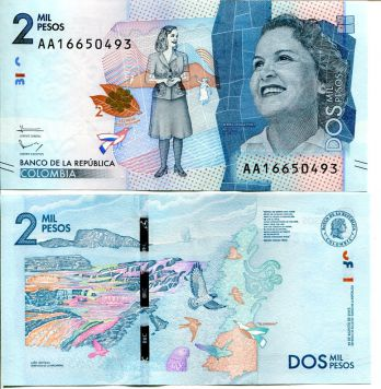 2 песо Колумбия 2015 год