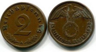 2 пфеннинга (рейхспфеннинг) Германия