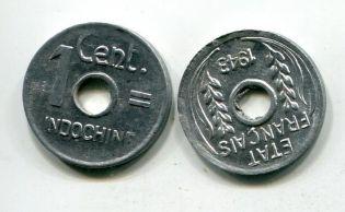 1 сантим (французский) Индокитай 1943 год
