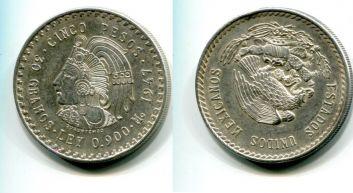 5 песо серебро (Мексика, 1947 г.)