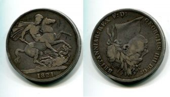 1 крона Георг IV (Великобритания, 1821 г.)