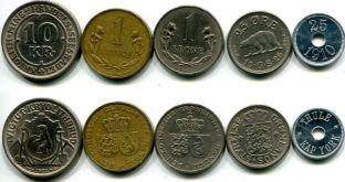 Набор монет Гренландии (микс, года разные)