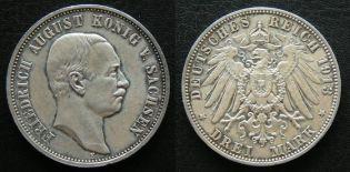 3 марки Саксония (Германия, 1913 год E)