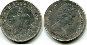 1 доллар раковина (Багамы, 1966 г.)