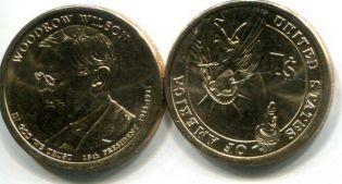 1 доллар Вудро Вильсон (США, 2013 год)