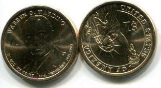 1 доллар Уоррен Хардинг (США, 2014 г.)