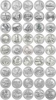 Набор монет США парки (полный комплект, 45 штук)