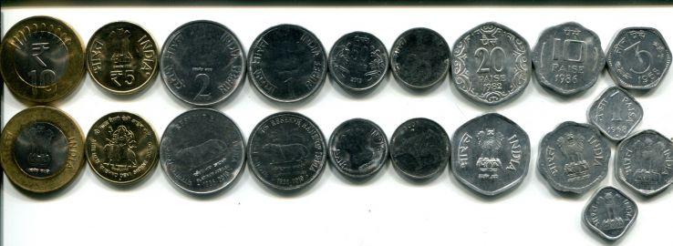 Набор монет Индии (10 штук)