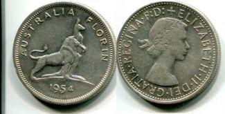 1 флорин лев и кенгуру (Австралия, 1954 г.)