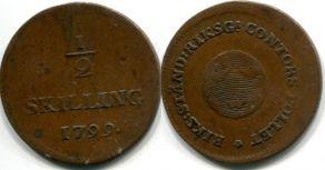 1/2 скиллинга 1799 год Швеция