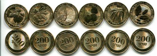 Набор монет дикие деревья (Армения, 2014 г.)