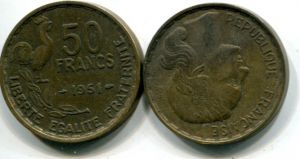 50 франков петух (Франция, 1951-1953 г.)