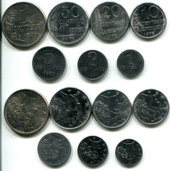 Набор монет Бразилии регулярный выпуск (7 штук, 1969-1978 г.)
