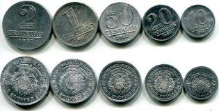 Набор монет Бразилии 1957 год