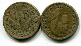 2 франка 1925 год Французский Того
