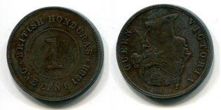 1 цент 1888 год Британский Гондурас
