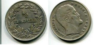 1/2 ригсдалера 1855 год Дания