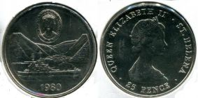 25 пенсов 1980 год (корабль) Остров Святой Елены