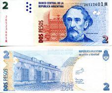 2 песо Бартоломе Митре Аргентина