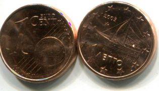 1 евроцент корабль Греция